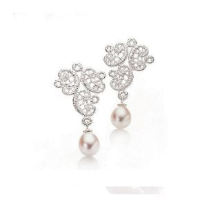 Sterling Silver Freshwater Pearl Figaro Lace Earrings Designyard