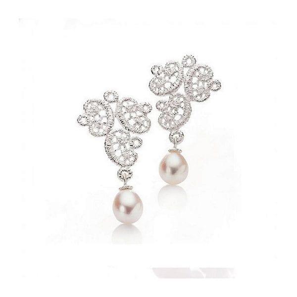 Sterling Silver Freshwater Pearl Figaro Lace Earrings Designyard