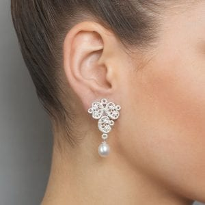 Sterling Silver Freshwater Pearl Figaro Lace Earrings