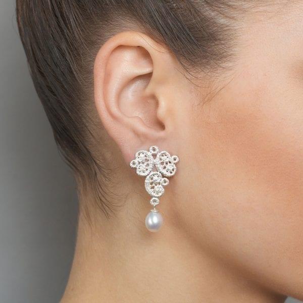 Sterling Silver Freshwater Pearl Figaro Lace Earrings