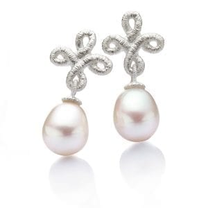 Sterling Silver Freshwater Pearl Pique Dame Earrings Designyard