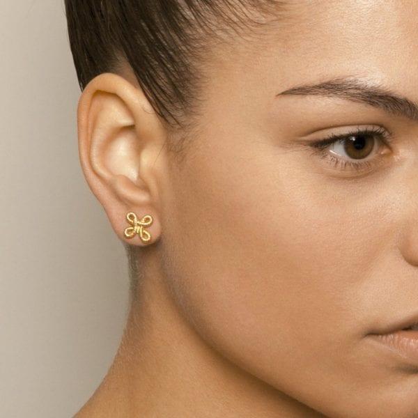 18k Yellow Gold Pique Dame Earrings