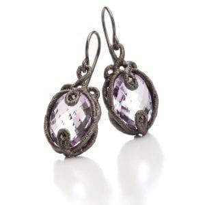 Sterling Silver Black Rhodium Plated Amethyst Marcasite Undine Earrings Designyard