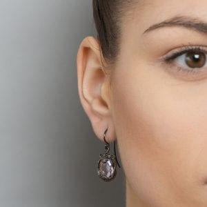 Sterling Silver Black Rhodium Plated Amethyst Marcasite Undine Earrings