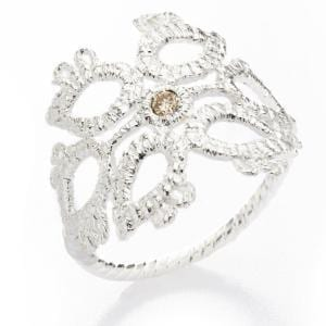 Sterling Silver Champagne Diamond Sleeping Beauty Ring