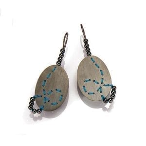 Oxidized Silver Turquoise Silk Hematite Loop Earrings Designyard