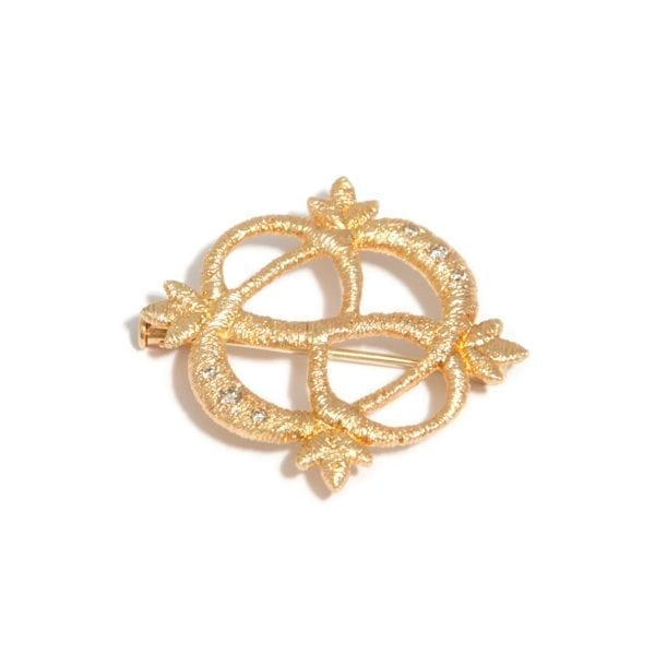 18k Yellow Gold Diamond Multi-Wear Lace Brooch Pendant