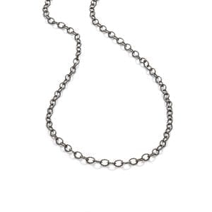 Sterling Silver Black Rhodium Plated Wide Chorded Anchor Chain
