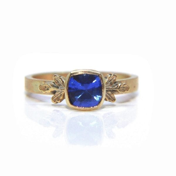9k Yellow Gold Blue Sapphire Oak Leaf Engagement Ring DesignYard