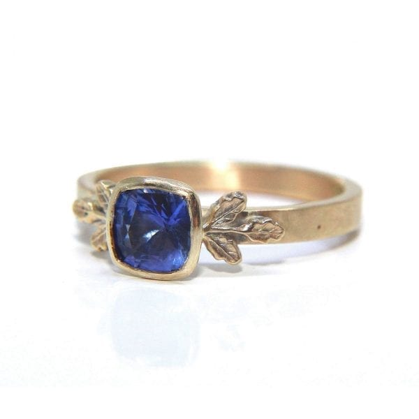 9k Yellow Gold Blue Sapphire Oak Leaf Ring