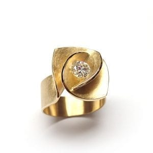 18k Yellow Gold Diamond Iris Engagement Ring DesignYard