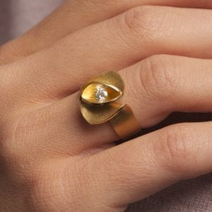18k Yellow Gold Diamond Iris Engagement Ring