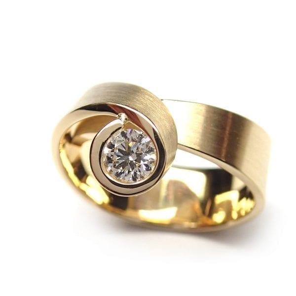 18k Yellow Gold Diamond Tulip Engagement Ring DesignYard