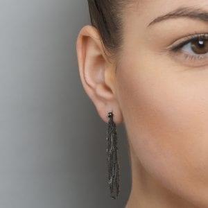 Sterling Silver Black Rhodanized Siara Long Earrings
