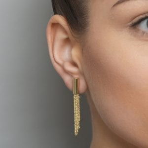 Sterling Silver Yellow Gold Plated Shine Short Earrings