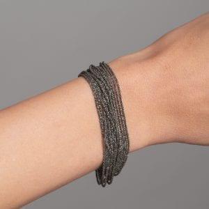 Sterling Silver Black Rhodanized Shine Bracelet