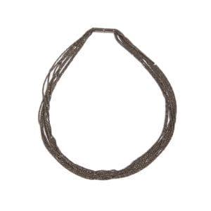 Sterling Silver Black Rhodanized Shine Necklace