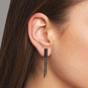Sterling Silver Black Rhodanized Shine Short Earrings