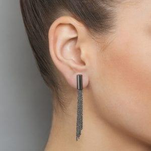 Sterling Silver Black Rhodanized Shine Earrings