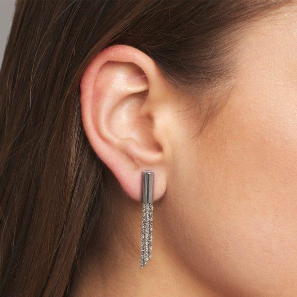 Sterling Silver Rhodanized Shine Short Earrings