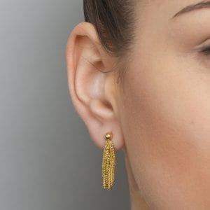 Sterling Silver Yellow Gold Plated Siara Short Earrings