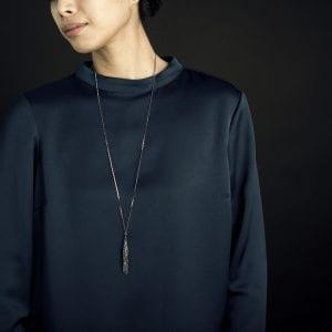 Sterling Silver Black Rhodanized 'Tassel Big' Necklace