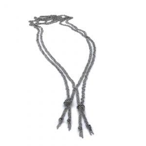 Sterling Silver Black Rhodanized Double Twist Necklace