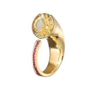 18K Yellow Gold Citrine Ruby Diamond Embrace Ring Designyard