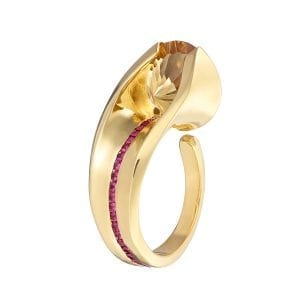 18K Yellow Gold Citrine Ruby Diamond Embrace Ring