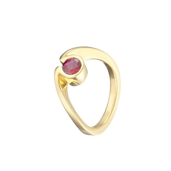 18k Yellow Gold Ruby Solitaire Engagement Ring Designyard