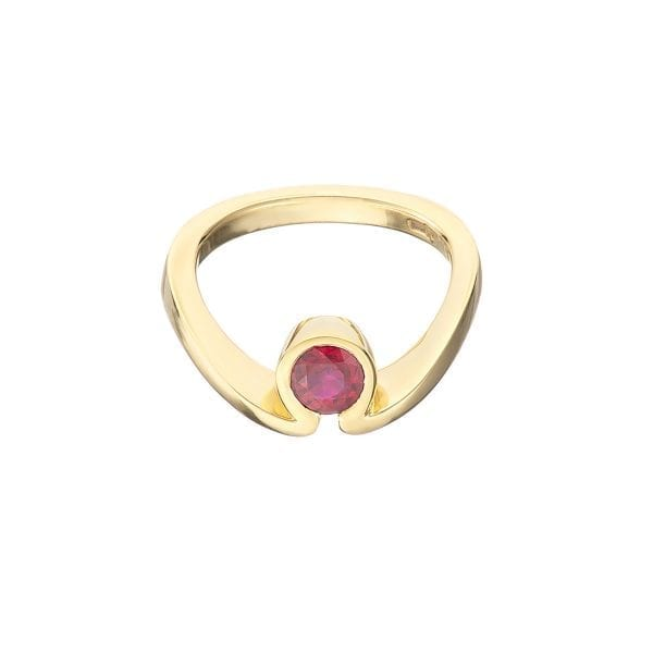 18k Yellow Gold Ruby Solitaire Ring