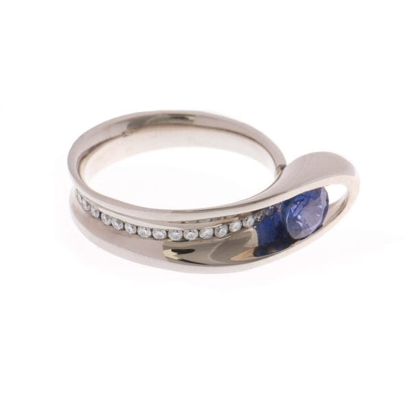 18k White Gold Blue Sapphire Diamond Embrace Engagement Ring