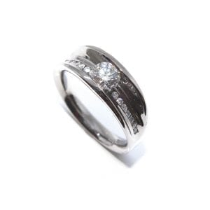 18k White Gold Diamond Flow Engagement Ring Designyard