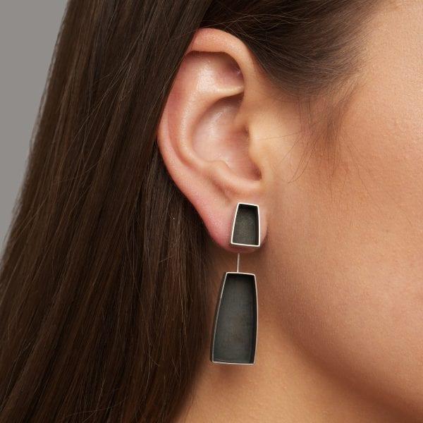 Oxidised Silver Kubus Earrings