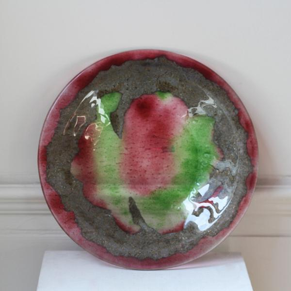 Pink and Green Glass Bowl Sculpture DesignYard