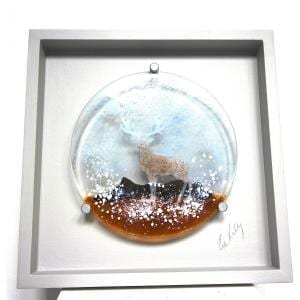 Winter Deer Framed Glass Piece DesignYard