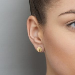 18k Yellow Gold Round Divide Earrings