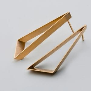 18k Yellow Gold Open Triangle Earrings