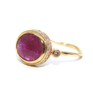 18k 22k Yellow Gold Ruby Champagne Diamond Ring