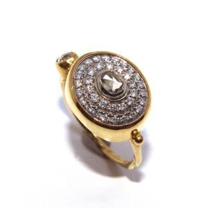 18K 22K Yellow Gold Oval Diamond Ring