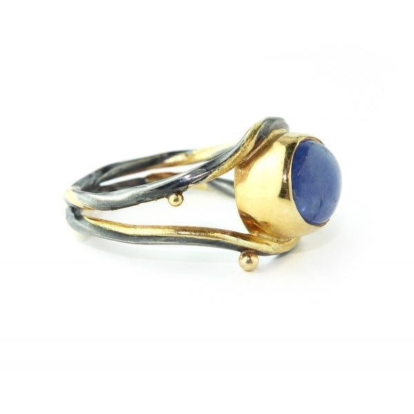 18k 22k Yellow Gold Blue Sapphire Diamond Ring