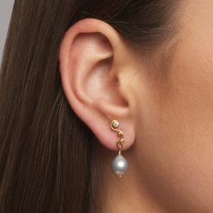 18k 22k Yellow Gold Tahiti Pearl Diamond Seafire Single Earring