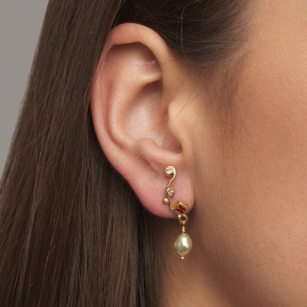 18k 22k Yellow Gold Ruby Keshi Pearl Diamond Seafire Single Earring