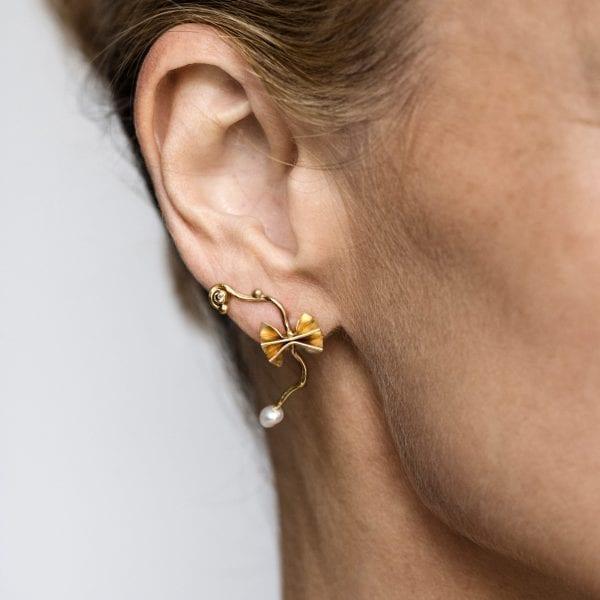 18k 22k Yellow Gold Keshi Pearl Diamond Breeze Single Earring