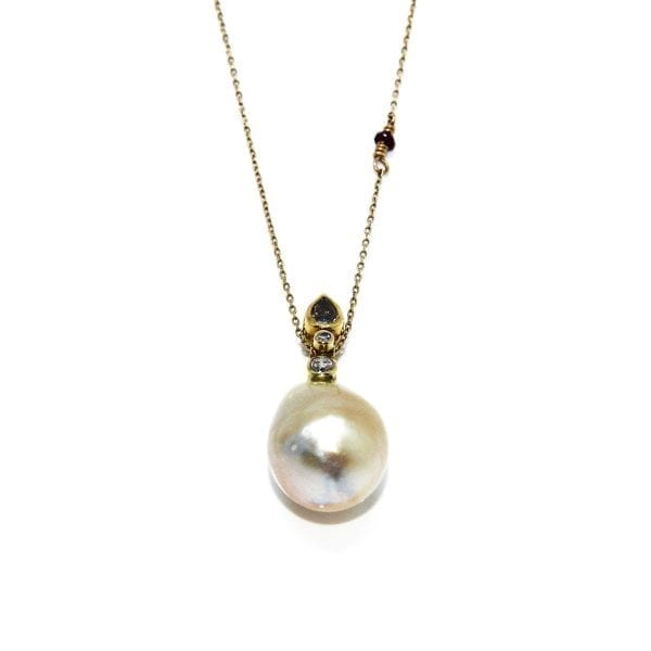18k 24k Yellow Gold Oxidised Silver South Sea Pearl Diamond Necklace
