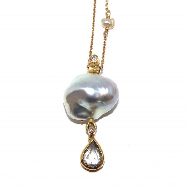 18k 22k Yellow Gold Grey South Sea Pearl Sapphire Diamond Necklace