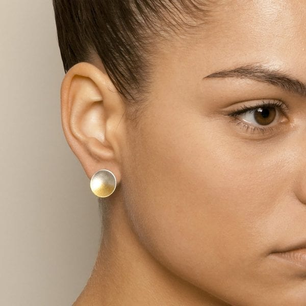 Electra Large Gold Plated Silver Stud Earrings