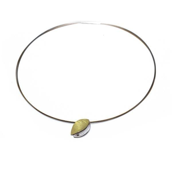 22k Yellow Gold BiMetal Sterling Silver-Pearl-Leaf-Necklace DesignYard