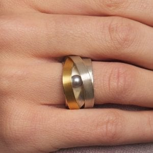 Sterling Silver 22k Yellow Gold Grey Pearl Ribbon Ring