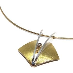 Sterling Silver 18k Yellow Gold Diamond Sail Necklace